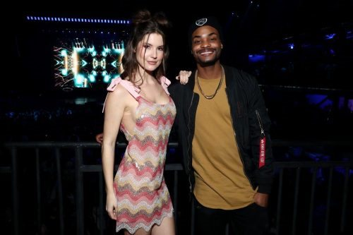 Amanda Cerny and King Bach attend AT&T TV Super Saturday Night at Meridian at Island Gardens on February 01, 2020 in Miami, Florida.