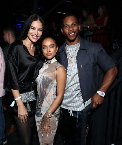 L-R) Adriana Lima, Karrueche Tran and Victor Cruz attend AT&T TV Super Saturday Night at Meridian at Island Gardens on February 01, 2020 in Miami, Florida