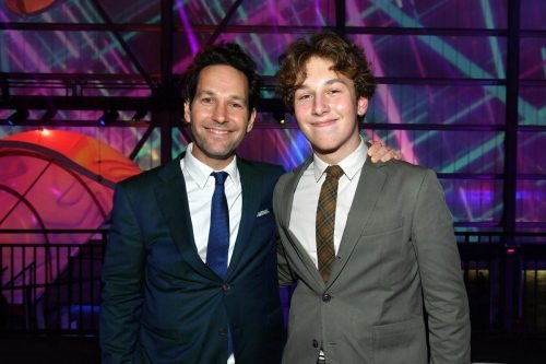 (L-R) Paul Rudd and Jack Sullivan Rudd attend AT&T TV Super Saturday Night at Meridian at Island Gardens on February 01, 2020 in Miami, Florida.