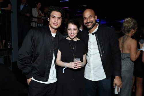 (L-R) Charles Melton, Elisa Key, and Keegan-Michael Key attend AT&T TV Super Saturday Night at Meridian at Island Gardens on February 01, 2020 in Miami, Florida.