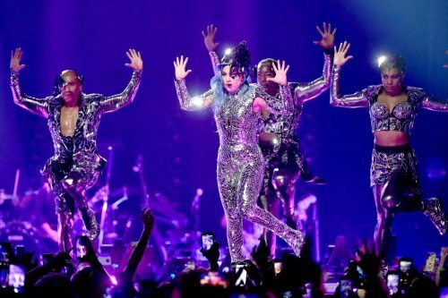 Lady Gaga performs onstage during AT&T TV Super Saturday Night at Meridian at Island Gardens on February 01, 2020 in Miami, Florida.