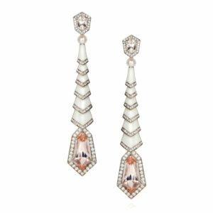 Kite Earrings Morganite and Enamel