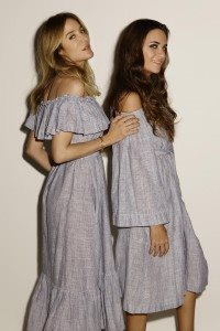 LOOK 20 MIRA BUTTON DOWN DRESS AND PATCHWORK OFF SHOULDER DRESS THIN STRIPE