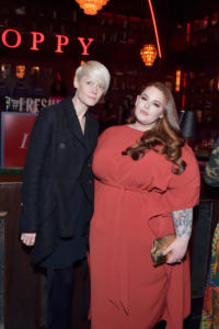 Kate Lanphear (L) and Tess Holliday attend Marie Claire Celebrates Fifth Annual 'Fresh Faces' in Hollywood with SheaMoisture, Simon G. and Sam Edelman at Poppy on April 27, 2018 in Los Angeles, California