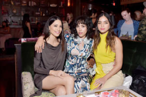 Mishel Prada (C) Melissa Barrera (R) and guest attend Marie Claire Celebrates Fifth Annual 'Fresh Faces' in Hollywood with SheaMoisture, Simon G. and Sam Edelman at Poppy on April 27, 2018 in Los Angel
