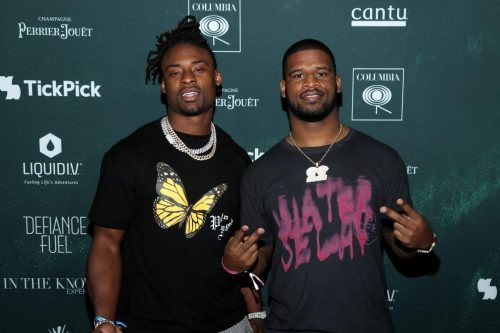 Johnathan Cyprien and David Williams attend the 2020 MAXIM Big Game Experience on February 01, 2020 in Miami, Florida.