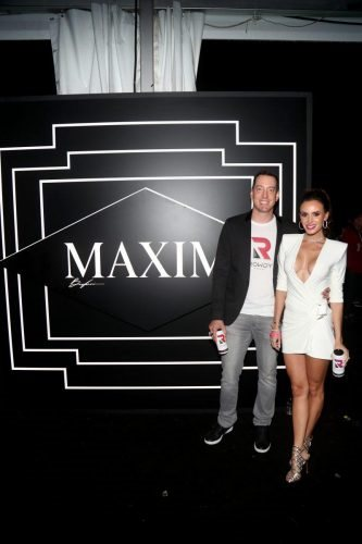 Kyle Busch and Samantha Busch attend the  2020 MAXIM Big Game Experience on February 01, 2020 in Miami, Florida.
