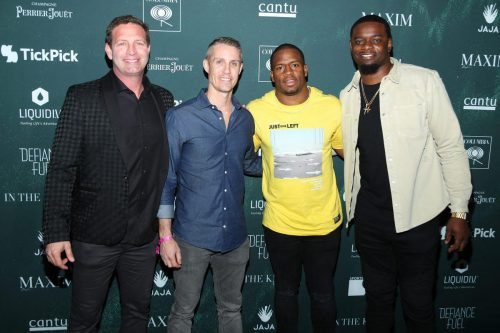 Brian Burgdorf, Dan Everett, and Nick Chubb attend the 2020 MAXIM Big Game Experience on February 01, 2020 in Miami, Florida.