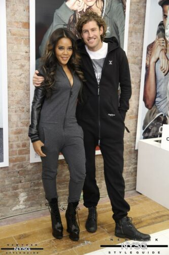 tv star and fashion designer angela simmons with onepiece co founder thomas adams
