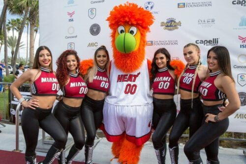 Miami Heat Dancers and Burnie