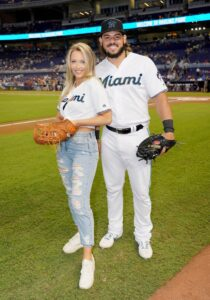Sports Illustrated Swimsuit Model Search Winner Brooks Nader Throws First Pitch At The Miami Marlins vs New York Mets Game