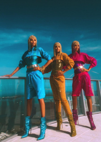 THE BLONDS WERE INSPIRED BY THE FUTURE OF SWIM AND THE CITY OF MIAMI FOR THEIR FIRST FORAY INTO SWIMWEAR
