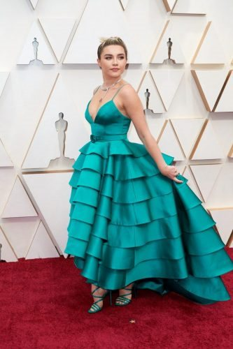 Oscar® nominee, Florence Pugh arrives on the red carpet of The 92nd Oscars® at the Dolby® Theatre in Hollywood, CA on Sunday, February 9, 2020.