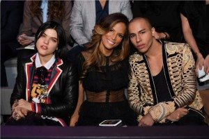 Soko, Veronica Webb, Olivier Rousteing Front Row 2016 VS Fashion Show