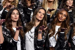 Victoria's Secret models Lily Aldridge, Alessandra Ambrosio and Jasmine Tookes pose during the All Model Appearance at Mercedes Benz Arena on November 18, 2017